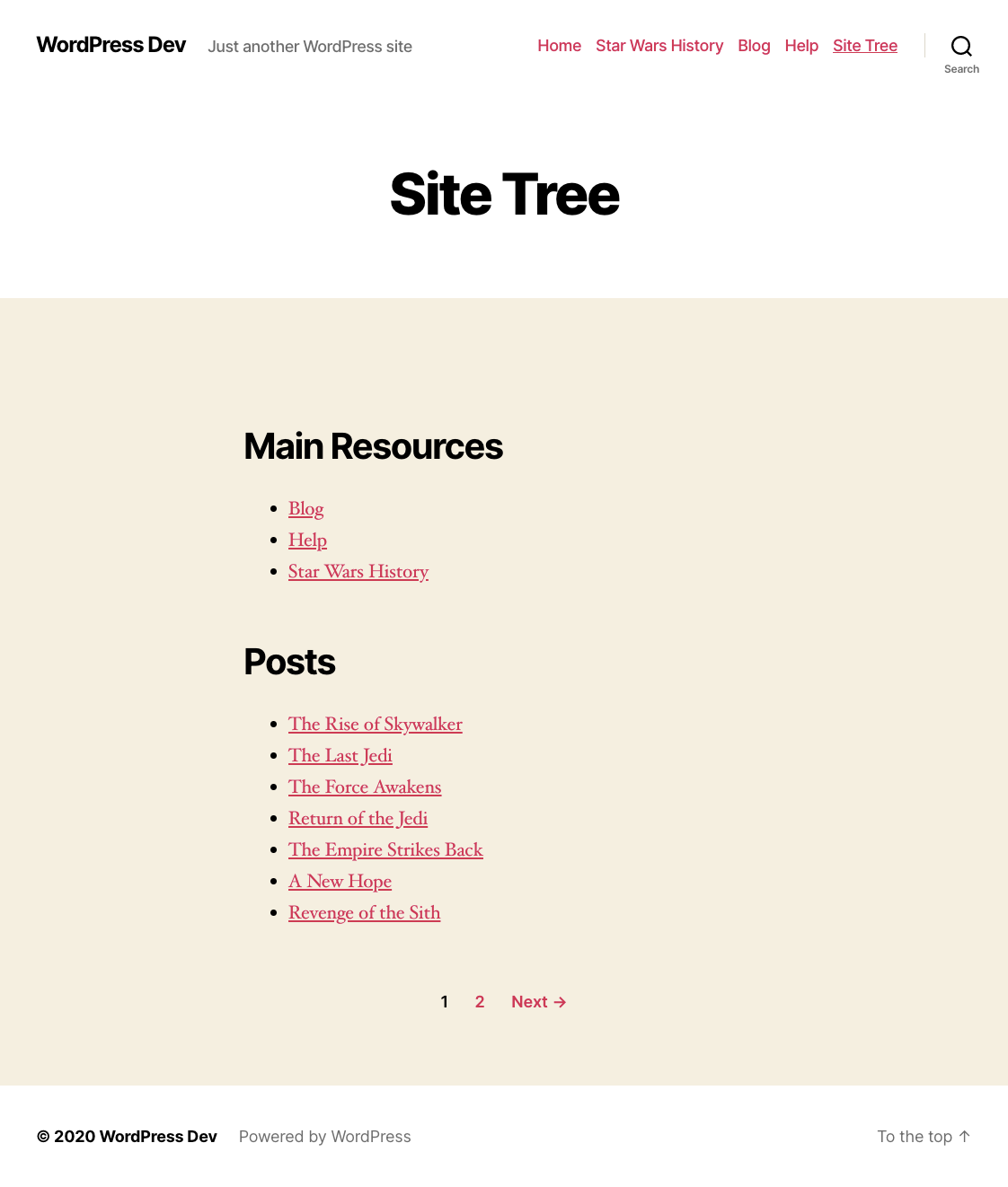 An example of paginated Site Tree.